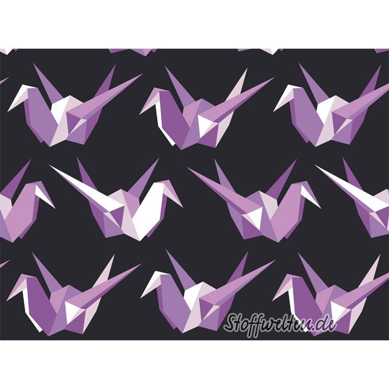 stoffwelten exklusiv origamics kraniche flieder lila auf graphit. Black Bedroom Furniture Sets. Home Design Ideas