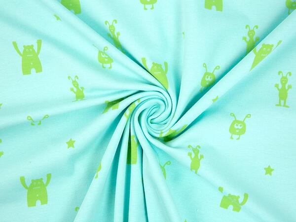 Farbenmix Jersey BEST FRIENDS - kleine MONSTER lime aqua,...
