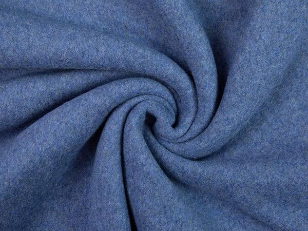 Hochw. BIO-BAUMWOLL-FLEECE, denim blue melange, 100%...