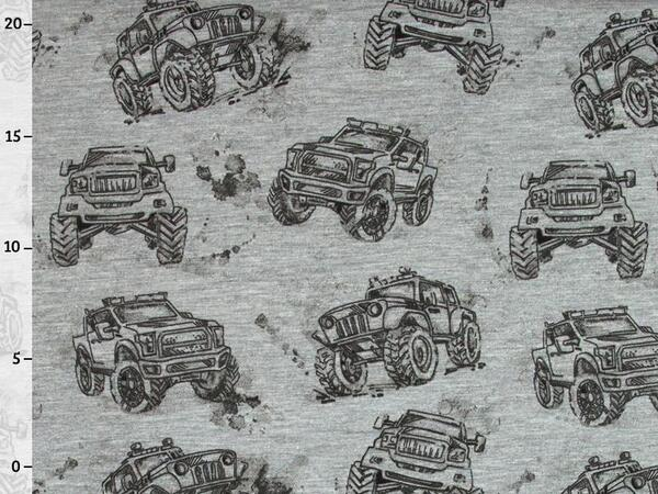 Toller SWEAT - MONSTERTRUCKS auf grau melange, Ökotex