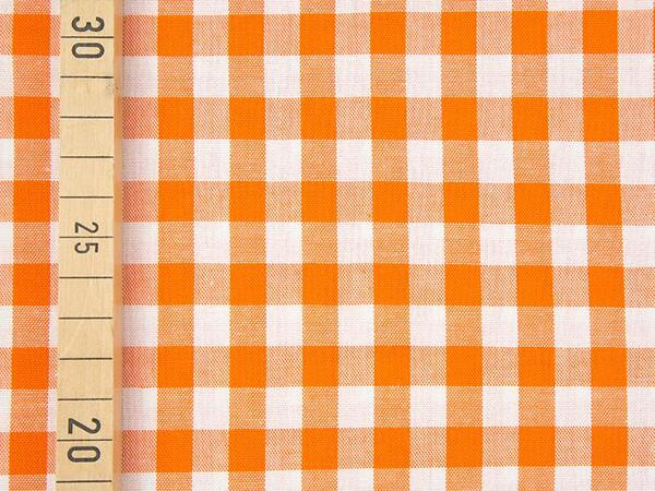 VICHY KARO - 10x10 mm Baumwolle Webware - orange/ weiß