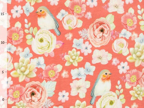 by living for fabrics - BLUMENLIEBE Jersey, koralle, Top-...