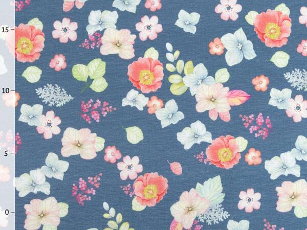 by living for fabrics - BLUMENLIEBE Jersey, jeansblau,...