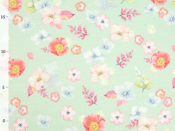 by living for fabrics - BLUMENLIEBE Jersey, mint,Top-...