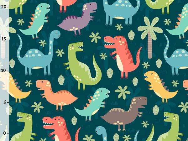 little dino Jersey by Malina - Dinosaurier auf petrol,...