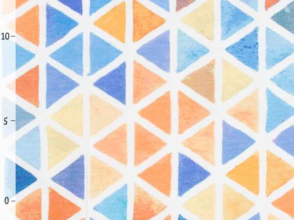 WATERCOLOR TRIANGLES Jersey by living for fabrics, blau...