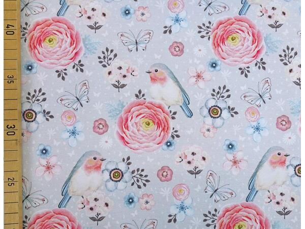 vintage birds auf hellgrau, by living for fabrics,...