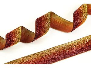 Farbverlauf GLITZERBAND - gold- rot- orange, Highlight...