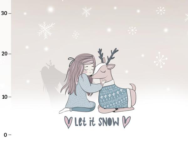 Bio-Sommersweat LET IT SNOW Panel, Mädchen & Reh, by BioBox
