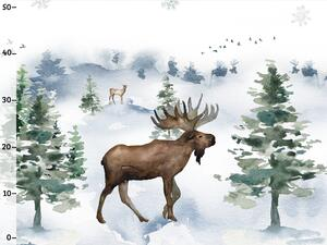 Bio-Sommersweat Bordüre, Canadian Winter, Hirsch Wald, by...