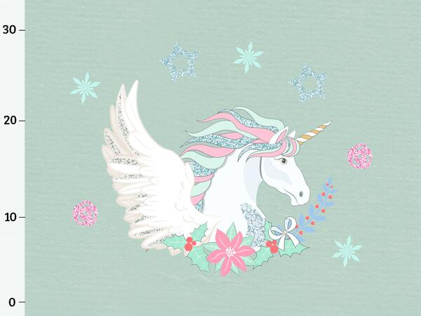 Bio-Jersey WINTERZAUBER UNICORN Panel, Einhorn mint, by BioBox