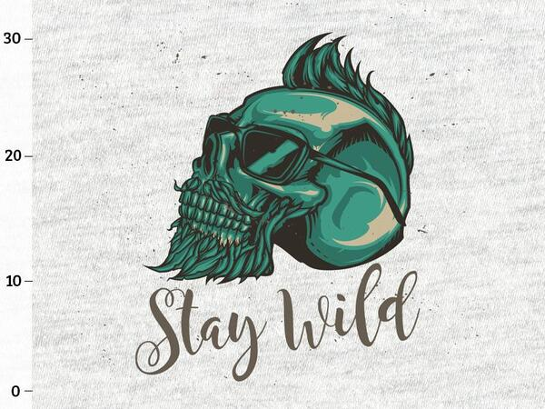 Bio-Sommersweat, XL-Panel, Stay wild, grau melange, by...