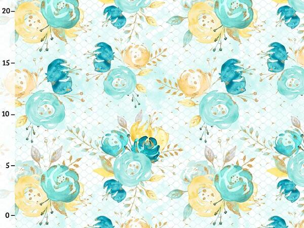 Bio-Jersey, flowers, gold mint collection by BioBox, ÖKOTEX