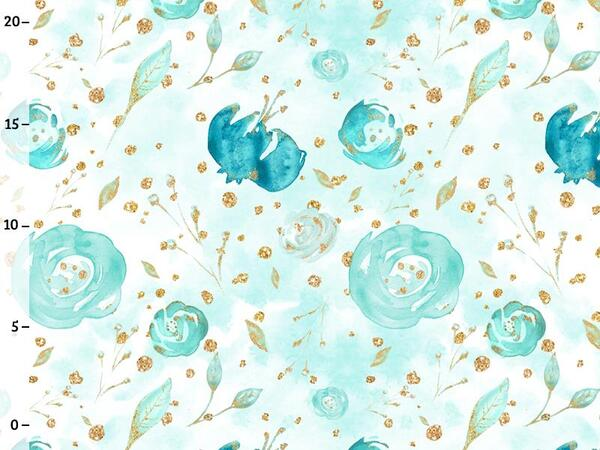 Bio-Jersey, aqua flowers, gold mint collection by BioBox,...