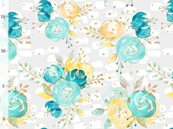 Bio-Jersey, flowers on grey, gold mint collection by...
