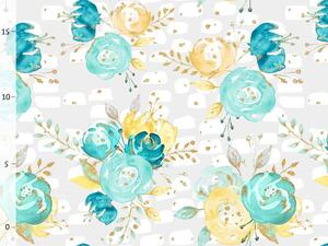 Bio-Jersey, flowers on grey, gold mint collection by BioBox