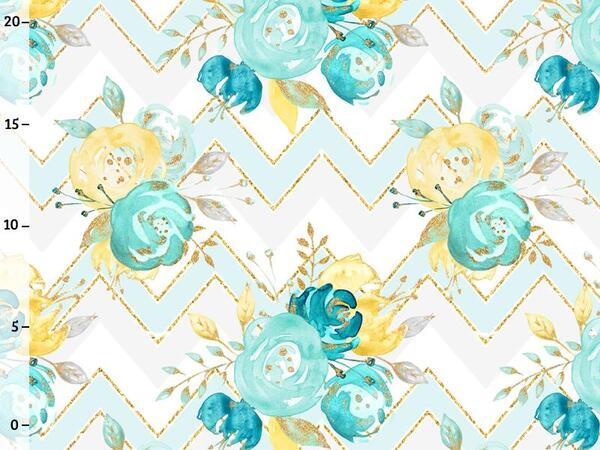 Bio-Jersey, chevron roses, gold mint collection by BioBox