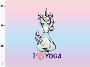 Bio-Jersey Panel I LOVE YOGA Yogahorn Yoga Einhorn, by...