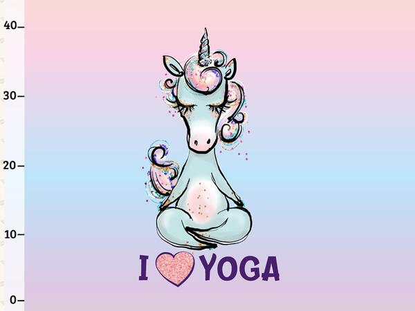 Bio-Jersey XL Panel I LOVE YOGA Yogahorn Yoga Einhorn, by...