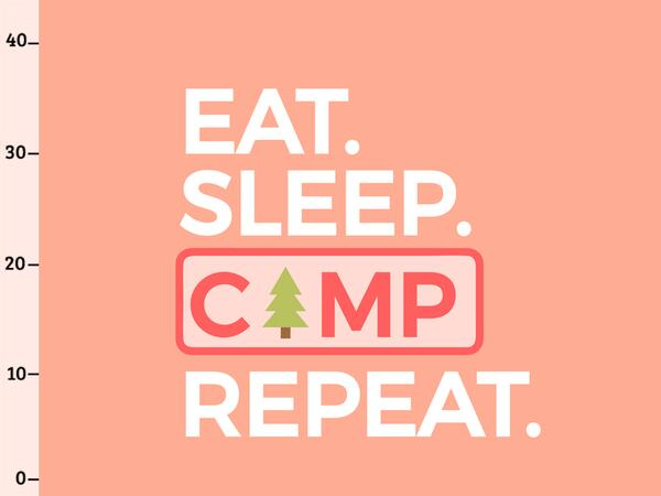 Bio-Jersey Panel, eat sleep camp repeat XL Panel, Happy...