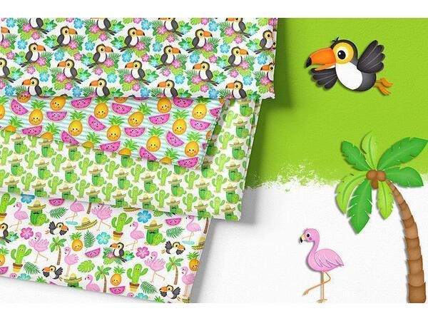 Bio-Jersey Tucan beach PANEL, Tropical Party by Bio-Box