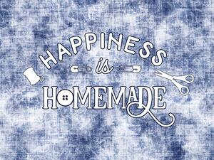 Bio-Sommersweat, XL Panel HAPPINESS ist HOMEMADE, used...