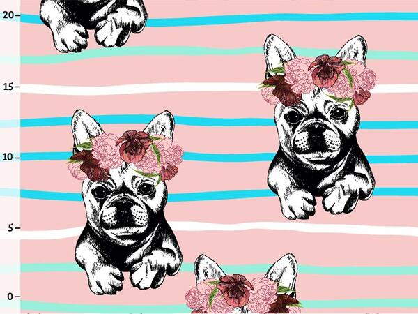 Bio-Jersey Frenchies, Streifen Blumen, French bulldog by...