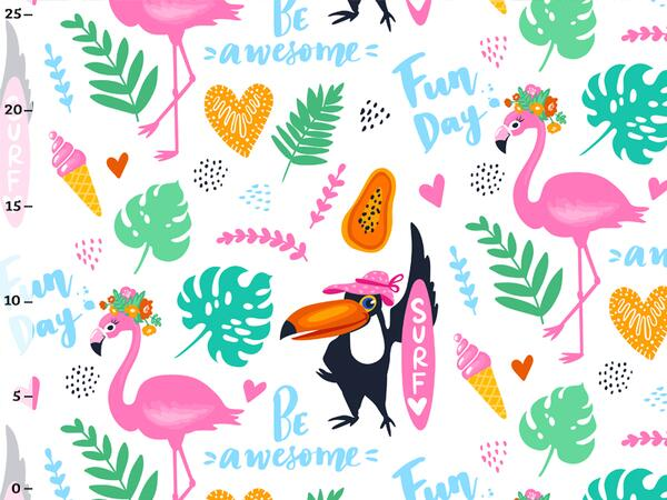 Bio-Jersey, Be Awesome, Tropical Flamingo, Bio-Box, Ökotex