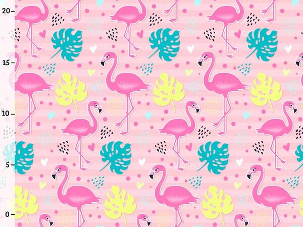 Bio-Jersey, Flamingo auf rosa, Tropical Flamingo,...