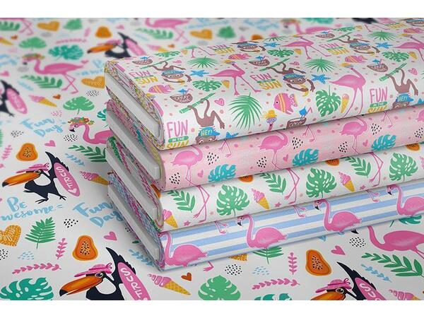 Bio-Jersey, Fun in the Sun PANEL, Tropical Flamingo by BioBox