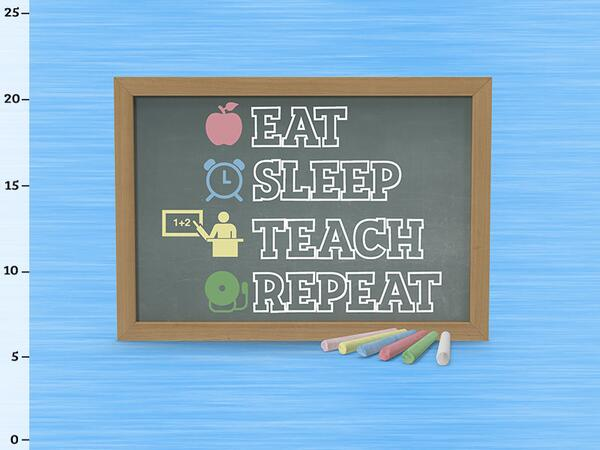 Bio-Jersey, XL Panel - eat sleep teach repeat, Lehrerin...