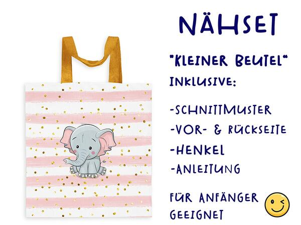 Nähset Tasche ELEFANT ohne Text, Canvas Biobox
