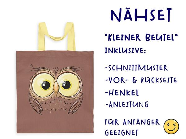 Nähset Tasche EULE ohne Text, Canvas Biobox