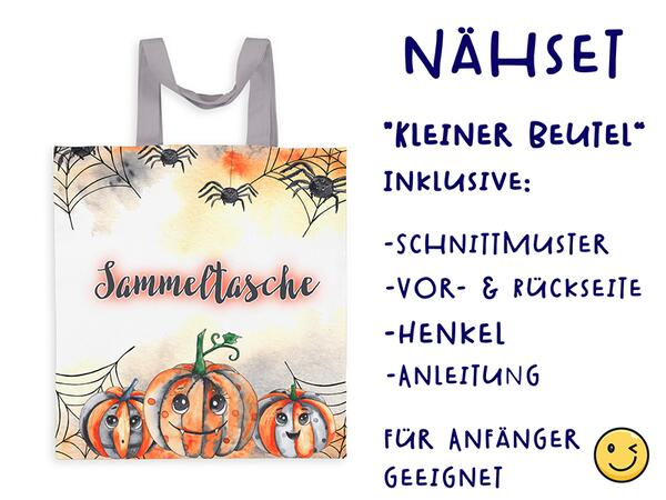 Nähset Tasche Sammeltasche, happy halloween, Canvas Biobox