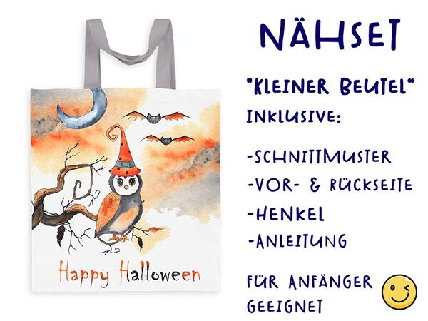 Nähset Tasche Eule, happy halloween, Canvas Biobox