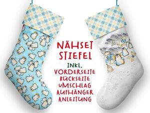 Nähset XL Stiefel, Pinguin, inkl. Schnittmuster, Advent /...