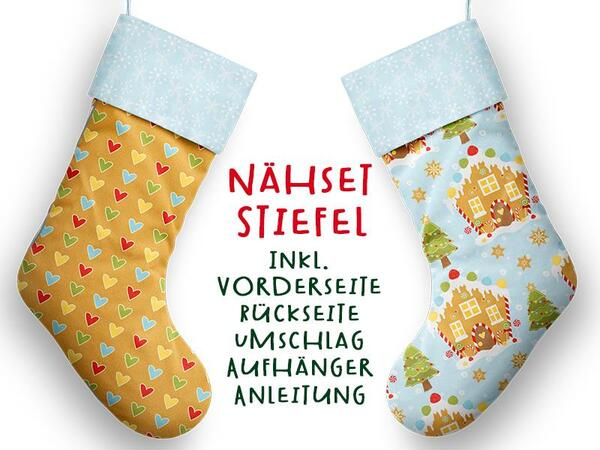 Nähset XL Stiefel, Lebkuchen, inkl. Schnittmuster, Advent / Nikolaus, Canvas by Biobox