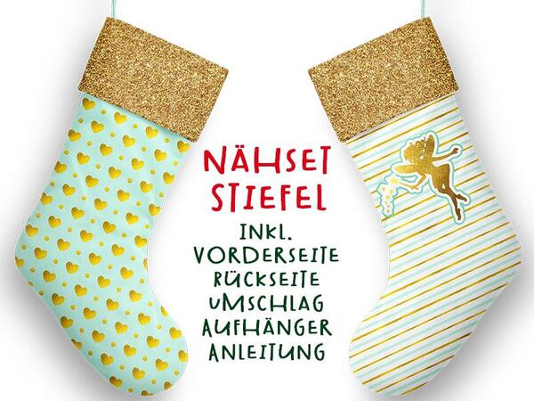 Nähset XL Stiefel, fairy, inkl. Schnittmuster, Advent / Nikolaus, Canvas by Biobox