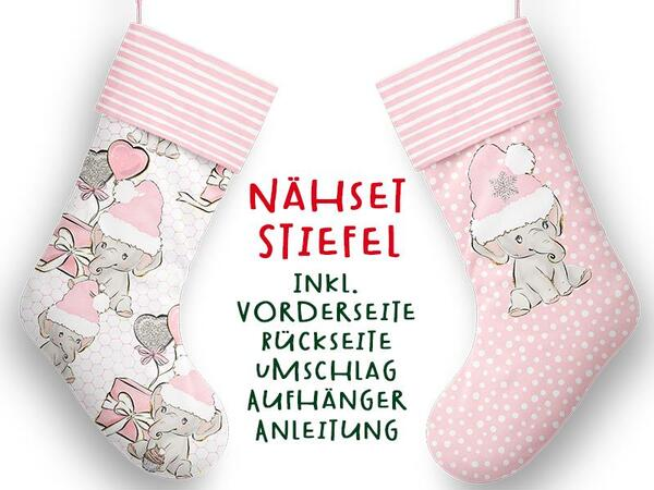 Nähset XL Stiefel, Elefant, inkl. Schnittmuster, Advent / Nikolaus, Canvas by Biobox