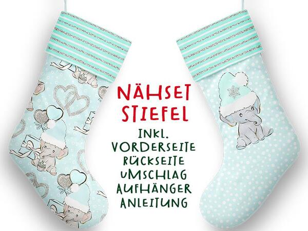 Nähset XL Stiefel, Elefant, inkl. Schnittmuster, Advent /...