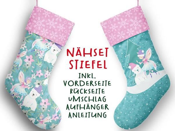 Nähset XL Stiefel, Elfe/ Fee, inkl. Schnittmuster, Advent / Nikolaus, Canvas by Biobox