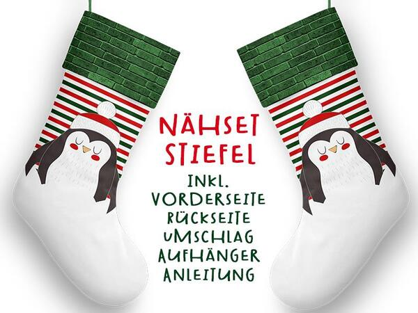 Nähset XL Stiefel, Pinguin, inkl. Schnittmuster, Advent / Nikolaus, Canvas by Biobox