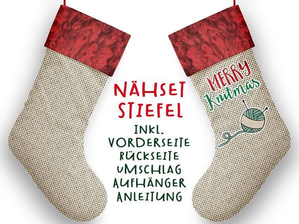 Nähset XL Stiefel, merry knitmas, inkl. Schnittmuster, Advent / Nikolaus, Canvas by Biobox