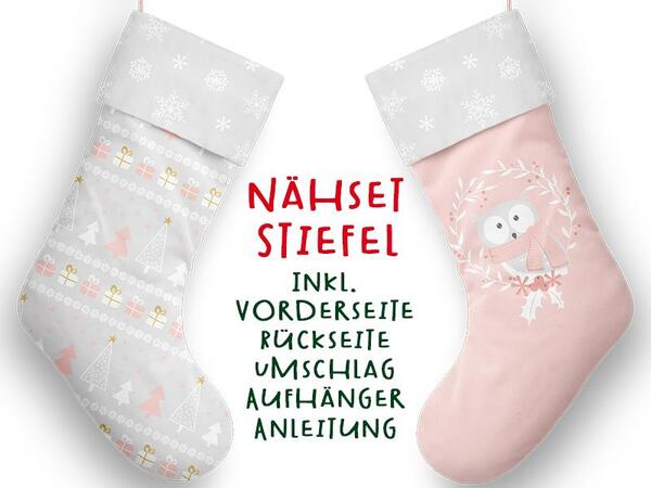 Nähset XL Stiefel, Eule, inkl. Schnittmuster, Advent / Nikolaus, Canvas by Biobox