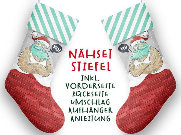 Nähset XL Stiefel, Santa cool, inkl. Schnittmuster, Advent / Nikolaus, Canvas by Biobox