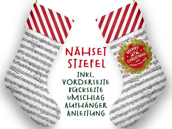 Nähset XL Stiefel, merry christmas, inkl. Schnittmuster, Advent / Nikolaus, Canvas by Biobox