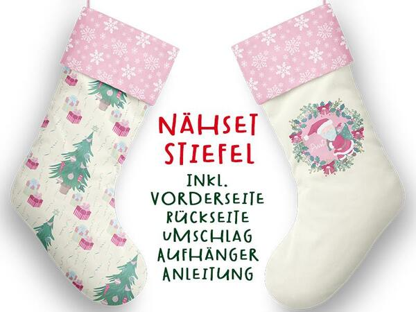 Nähset XL Stiefel, santa, inkl. Schnittmuster, Advent / Nikolaus, Canvas by Biobox