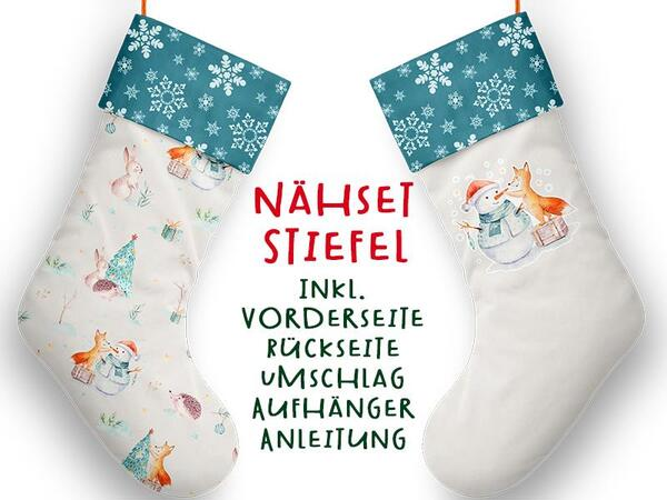 Nähset XL Stiefel, Schneemann & Fuchs, Winterwald, inkl. Schnittmuster, Advent / Nikolaus, Canvas by Biobox