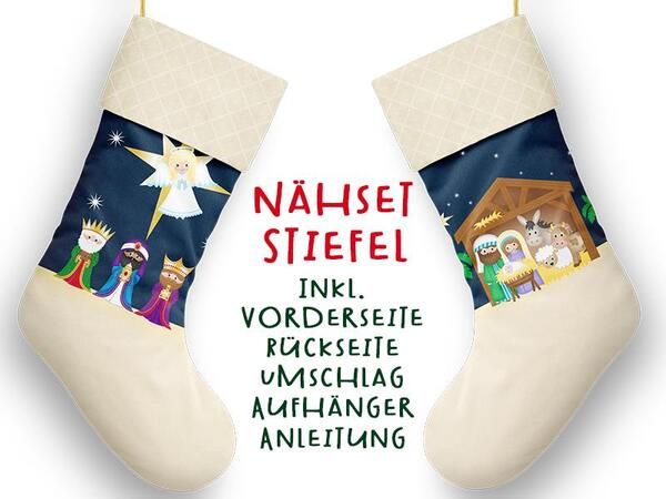 Nähset XL Stiefel, Krippe, inkl. Schnittmuster, Advent / Nikolaus, Canvas by Biobox