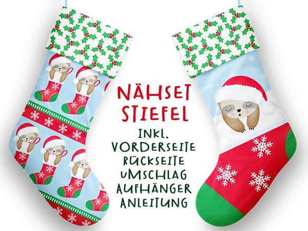 Nähset XL Stiefel, Chilly das X-MAS Faultier, inkl....